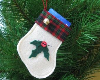 Christmas Stocking Gift Card Holder - Ready 2 Ship - Off White Felt Christmas Stocking Ornament with Holly Leaves - Felt Gift Card Holder