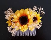 Sunflower Wedding hair comb Accessory Bridal Hairpiece summer dried  babys breath country western barn party yellow accessories