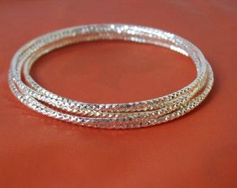 5 Diamond Cut Mirrored Thin Sterling Silver Bangle Bracelets