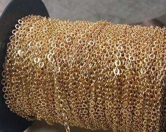 WholeSale-100 ft spool of 18 k gold Plated chain 2mm tiny flat soldered cable chain-F768