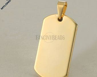 Thickness 2mm Engravable stainless steel charms-Blank stamping military tag charms 20 pcs bulksale-G1515jin -Gold stamping blank dog tags
