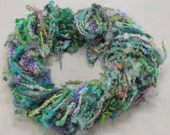 Handspun art yarn: Blue Faced Leicester locks, 4 oz, 38 yards