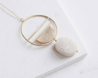 Druzy + Geometric Pendant Necklace | 14k Gold Fill + Brass