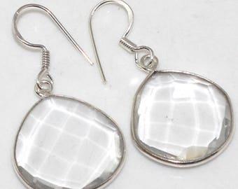 Very Beautiful Clear Crystal Quartz  Earrings, 925 Silver, Prom, Wedding, Healing, Positive Energy
