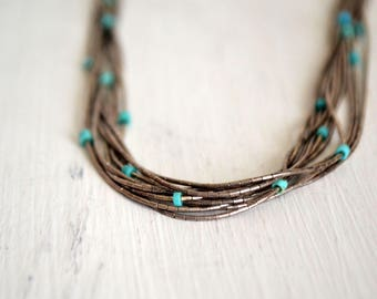 Multi Strand Necklace - 1970s Sterling Silver Bead Necklace - Vintage Turquoise Hippie Boho Jewelry