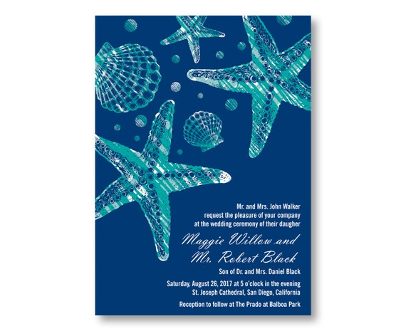 Beach Wedding Invitations, Custom Printed with RSVP Cards and Envelopes, 20 Pieces Per Order