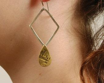 Onyx Asymmetric earrings, Silver & Golden Brass Earrings, Statement Dangle Earrings, Drop Teardrop Cocktail OOAK Unique Boho Earrings