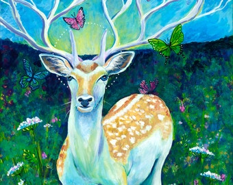 "White Stag, 11"" by 14"" PRINT - mythical deer, vision quest, stag, buck, white, green, queen anns lace, butterflies"