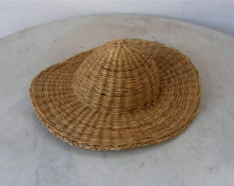 DOLL'S STRAW HAT Bonnet Style Vintage Woven Straw Wide Brim Beehive Hat