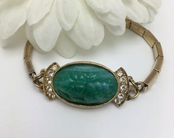 Vintage Box Clasp Bracelet Vintage Watch Band Bracelet Repurpose carved green stone with rhinestones one of a kind