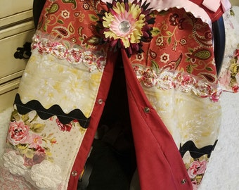 Carseat Canopy Floral carseat cover Elegant Maroon Floral strip work cover