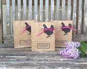 Hen party bags MEDIUM: 18cm x 25cm x 8cm personalised with black hen tag and hot pink raffia
