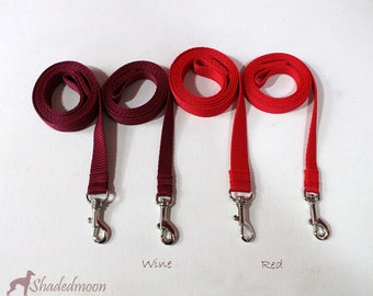 Coordinating Italian Greyhound Leashes / Dog Leads for Shadedmoon Collars - 2 widths - various colours black, pink, red, blue, purple etc.