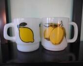 Lemon Motif Milk Glass Coffee Mugs, Set of 2, Anchor Hocking, Fire King Milk Glass Mug, Glasbake Milk Glass Mug, Lemon Milk Glass Coffee Cup