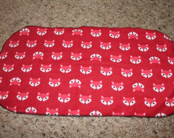 Red Fox Burp Cloth with Black Minky