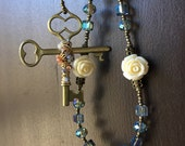 Catholic Rosary, 5-Decade Blue Faceted Glass, Jesus Mary Wooden Domino Centerpiece, Byzantine Icon Images