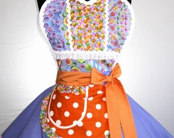 Purple and Orange Candy Apron with gumballs and lollipops