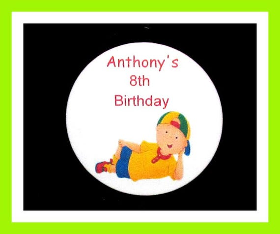Birthday Party Favor Personalized Button, Calliou Pin Favor,School Favor,Kid Party Favor,Boy Birthday,Girl BirthdayPin,Favor Tag Set of 10