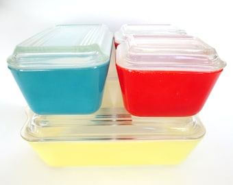 Pyrex Refrigerator Set Red Yellow and Blue 501 502 503 B