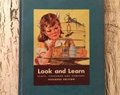 Vintage Children's Primary Reader - Teacher's Edition - Great 1940s Graphics  - Nursery Decor - At Play