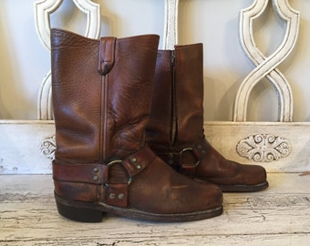 Vintage Motorcycle Boots - Brown Harness Style Leather Boots - Men's Size 9 - Broken-in Biker Boots