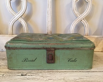 Vintage Green Bread and Cake Box  - Aluminum