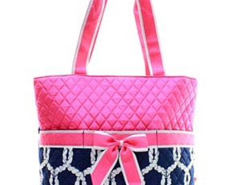 Rope Anchor Quilted Medium Diaper Bag Custom Embroidery