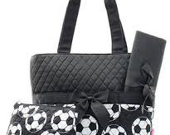 Soccer Quilted Medium Diaper Bag Custom Embroidery