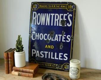 Antique Porcelain Enamel Sign. Rowntree's Chocolates and Pastilles. Home Decor. Cottage.