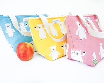 Insulated Lunch Tote Bag with Waterproof Lining - Polar Bear (Choose Your Size and Color!)