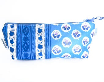 Makeup Bag Pouch - Souleiado French Provencal Oilcloth Fabric (Blue Faux Patchwork 2)