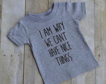 I am why we can't have nice things - baby t-shirt - kid t-shirt - toddler t-shirt - fun kid shirt - funny shirt