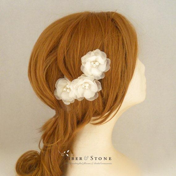 Freshwater Pearls Bridal Hair Flowers, Ivory Wedding Hair Flowers, Bridal Headpiece, Wedding Headpiece, Swarovksi Crystal Silk Organza