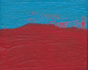 Contemporary Abstract Painting 4 x 4 inches Artist with Autism Red Blue Wall Decor Art Design