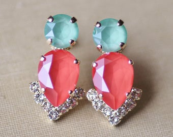 ONLY PAIR Coral Mint Green Swarovski Cluster Earrings,Rhinestone Crystal Stud Post,Orange Green,Colorful,Gold Pear Teardrop,Bridal,Weddings