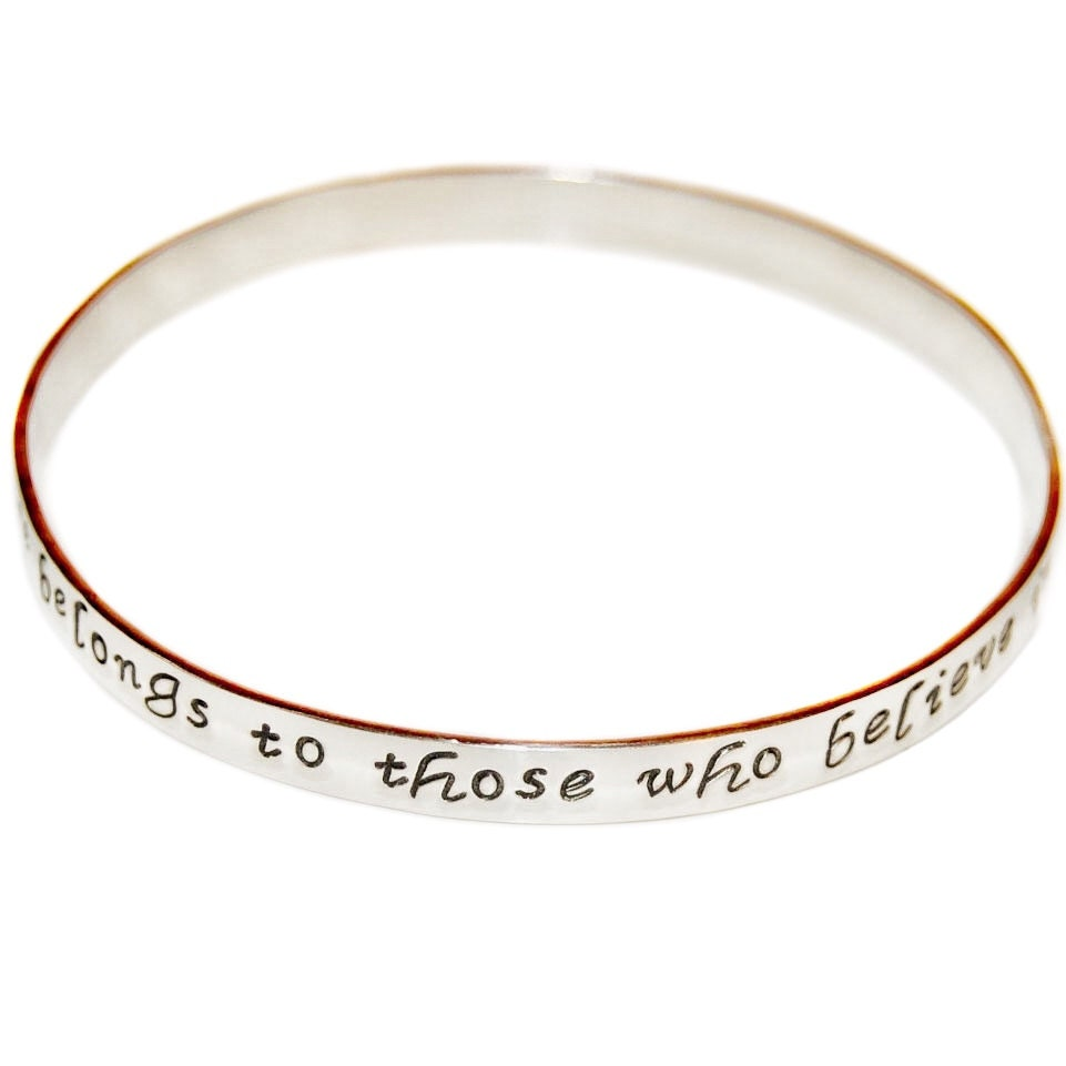 personalized bangle sterling silver message bracelet custom. Black Bedroom Furniture Sets. Home Design Ideas