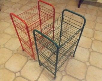 Rare Lot set 2 wire carts on wheels 3 shelves or baskets. Craft cart, vegetable organizer, magazine rack Choice. Storage.Home decor. Gift