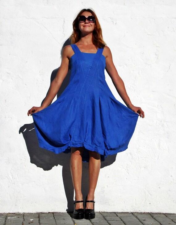 RESERVIERT für M / / blaues Leinenkleid Trapez Kleid von ...