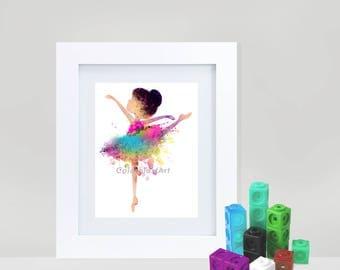 Little ballerenia 4- watercolor digital art- Ballet dancer- INSTANT DOWNLOAD for kids girls room dance kids nursery decor