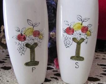 Old Japan Ceramic Tall Salt Pepper Shakers Fruit Design Vintage Shakers