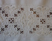 """Beautiful Vintage Table Runner, Dresser or Piano Scarf Italian Reticella Hand Work 16 1/2 x 33"""""""