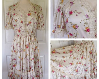 60s/70s Floral Garden Party Circle Skirt Dress