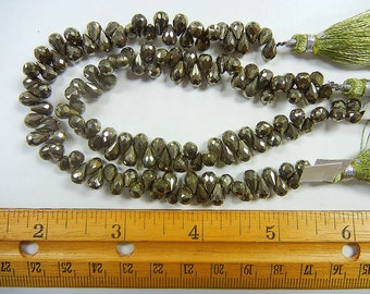 7x4mm faceted teardrop briolette pyrite beads 1 strand (GSS-19)