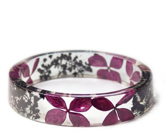 Deep Purple Flower Jewelry- Real Flower Jewelry- Purple Bracelet- Purple Flower Jewelry- Resin Jewelry- Flower Bangle- Flower Resin Bracelet