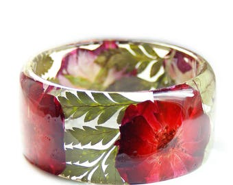 Red Rose Bracelet- Rose Bangle- Red Flower Jewelry- Green Leaf Jewelry- Resin Jewelry- Flower Resin Jewelry- Flower Bangle- Resin Bracelet