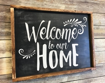 Welcome to our home wood sign, welcome sign, home decor sign