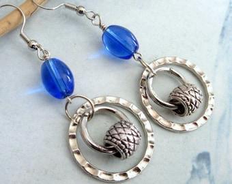 Royal Blue and Silver Metal Dangle Earrings, Silver Hoop Earrings, Royal Blue Glass Bead Earrings, Mango Tease, FREE US SHIPPING