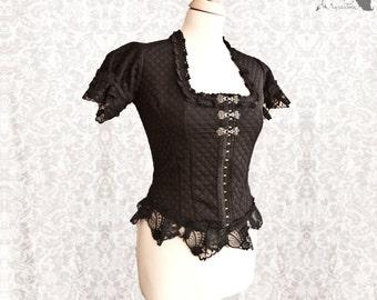 Blouse black, Victorian shirt, Steampunk, romantic goth, Devota, Somnia Romantica, size small - medium see item details for measurements