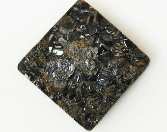 Rare Natural Black Garnet Druzy Cabochon