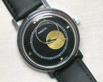 Soviet Raketa Watch, Copernik, Copernicus. Black Textured Face, Atomic Space Age Theme